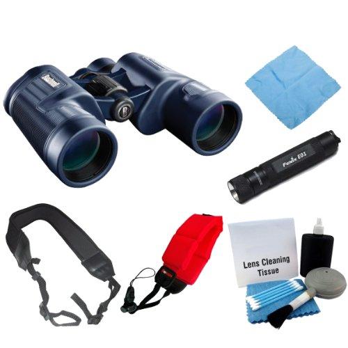 Bushnell 134212C H20 Waterproof 12X42 Binoculars Black + Fenix E01 Compact Keychain Led Flashlight Black + Accessory Kit