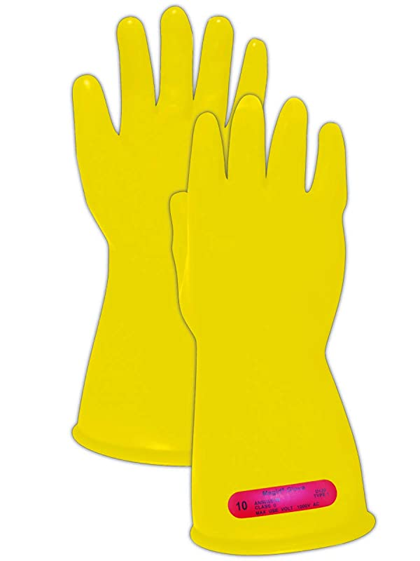 Magid Glove & Safety M-0-11-Y-95 Magid Class 0 Electrical Gloves, Capacity, Volume, Rubber, 9.5, Yellow (Color: Yellow, Tamaño: 9.5)