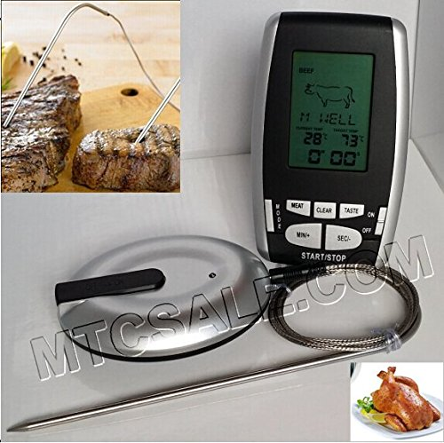 Wireless Remote Meat Thermometer For Smoker,Bbq Grill Kitchen Food Cooking Thermometer With Probe,Temperature Gauge&Alert