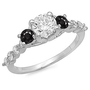 1.50 Carat (ctw) 14K White Gold Round Black & White Diamond 3 Stone Engagement Ring 1 1/2 CT (Size 6.5)