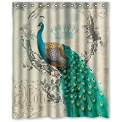 "Stylish Living Elegant Vintage Peacock Art Animal Art Bathroom Shower Curtain Liner for Home with Hook 60"" x 72"""