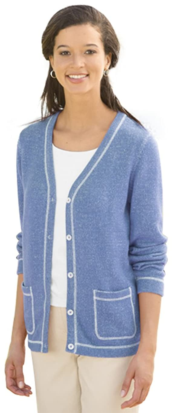 Orvis Women's Coverstitched Plaited-cotton Cardigan
