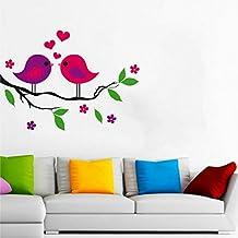 Rawpockets Love Birds On Multi-Color Flower Tree' Wall Sticker