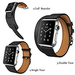 Hoco Apple Watch Band Pinhen Double Tour and Cuff Genuine Leather Watch Cow Genuine Leather Classic with Metal Buckle for Apple Iwatch(42mm Black)