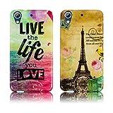HTC Desire 626G Silikon Schutz-Hülle 2x SET La Tour + Live the Life weiche Tasche Cover Case Bumper Etui Flip smartphone handy backcover thematys®