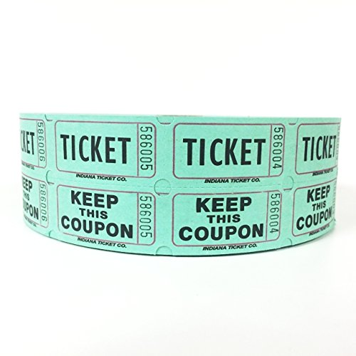 Raffle Tickets 2000 per Roll 50/50: Green (K Tickets compare prices)