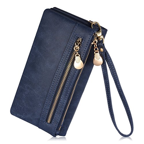 augur-womens-matte-pu-leather-wristlet-clutch-wallet-with-wrist-strap-card-holder-evening-dark-blue