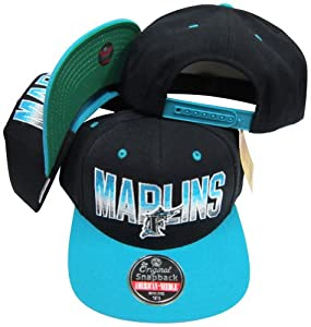 Florida Marlins Black Teal Two Tone Plastic Snapback Adjustable Plastic Snap Back Hat... by American Needle