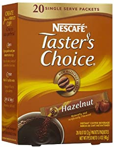 Nescafe Taster's Choice Hazelnut Instant Coffee Single Serve Packets, 20ct