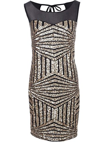 KAYAMIYA Women's 1920s Diamond Pattern Gauze Sequined Gatsby Flapper Dress