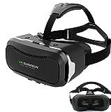Hqing VRメガネ 3D スマホ ゲーム 映画 ビデオ ゴーグル 超3D映像効果 仮想現実 頭部装着 4?6インチのAndroidやIOSスマホ適用 G-VR002 (黒 二代)