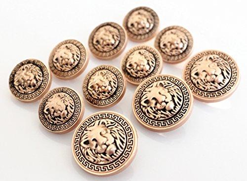 YCEE 11 Pieces Gold Vintage Antique Metal Blazer Button Set (weighty) - 3D Lion Head - For Blazer, Suits, Sport Coat, Uniform, Jacket (Head Suit compare prices)