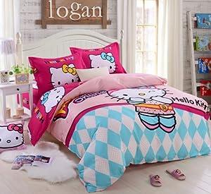 hello kitty bedding set t12 pink cartoon queen bedding set 4 pcs