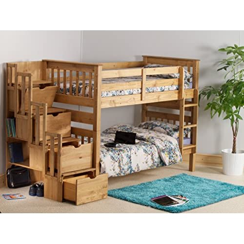 Cloudseller Staircase bunk beds with 3 drawer storage in honey pine