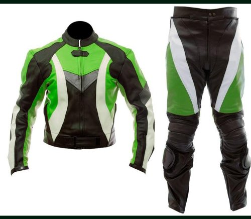 Green Motorbike Racing Suit Custom Made CE approv Ideal4 KAWASAI
