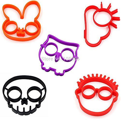 Kagu Culture Silicone Egg Mold 5 in 1 Bunny Owl Skull Cloud Clown Novelty Cooking Tool Set(5 in 1) by KAGU CULTURE
