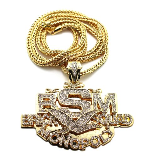 "New Iced Out 'BSM' BRICK SQUAD MONOPOLY Pendant &36"" Franco Chain Necklace MP830G"