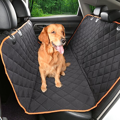 Environmental Dog car seat cover 54''Wx58''L,IKET Patented TPU Hammock Pet Car Seat Cover with non-slip Backing,Orange Trim and Waterproof (F350 Seat Covers Ford Truck compare prices)