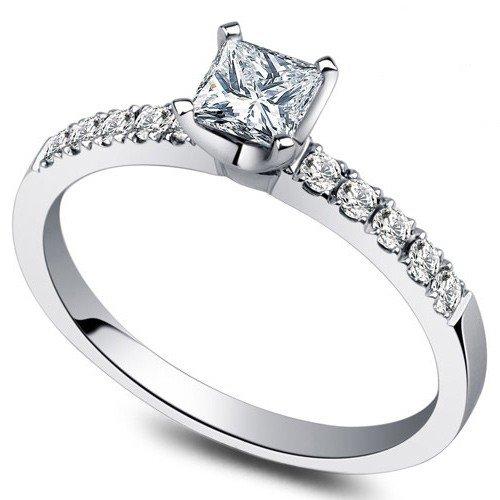 0.58 Carat Wedding Ring Set Princess Cut Diamond on 14k White gold