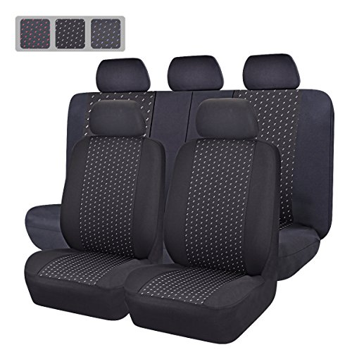 CAR PASS Universal Jacquard Car Seat Covers Set - Black and Gray (11-Piece) (Car Girl Seat Covers compare prices)