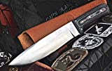 CFK Cutlery Company USA - TRAIL BOSS II - Custom Handmade D2 Tool Steel Camo Micarta LARGE Bushcraft Bevel Grind Hunting Skinning Knife with Leather Sheath & Fire Starter Rod Set CFK39