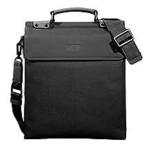 Pabojoe Men's Blue and Khaki Double Genuine Leather Messenger Bag 13 Inch (Black)