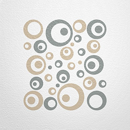 Wandfee wandtattoo 50 retro kreise ac0710320 gr e 2 x for Farbige wandgestaltung wohnzimmer