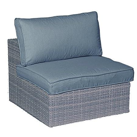 """Garden Impressions Lounge Set mittelelement, Erweiterung fur Sitzgruppe """"JAMAIKA"""" - Hochwertiges Poly Rattan Geflecht, Extra dicker Kissen in der Farbe: Sand, shadow grau, 85.5x90.5x65 cm, 06402SO"""