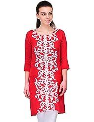 AngelFab Red Color Rayon Fabric Women's Straight Kurti