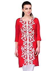 UNNO Boutique Red Color Rayon Fabric Women's Straight Kurti