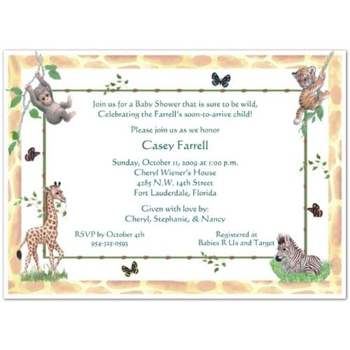 jungle animals baby shower invitations set of 20