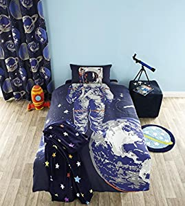 """KIDS LOST IN SPACE BLUE 66"""" x 72"""" RING TOP LINED CURTAINS #TUANORTSA *TUR*"""
