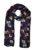 Ladies Women's Owl on Branch Print Scarf Wraps Shawl Soft Scarves