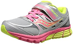 Saucony Girls Zealot A/C Running Shoe (Little Kid), Silver/Coral/Citron, 1.5 M US Little Kid