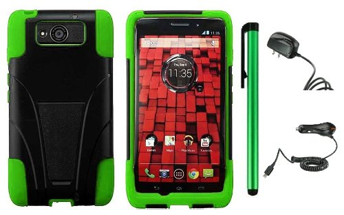 Motorola DROID ULTRA MAXX XT1080M / Motorola Obake (Verizon) Accessory Combination - Premium Stand Protector Hard Cover Case + Travel (Wall) Charger & Car Charger + 1 of New Metal Stylus Touch Screen Pen (Green / Black)