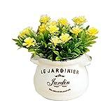 (ADOSSY) おしゃれ フラワーポット に 入った 造花 インテリア 雑貨 (イエローフラワー)