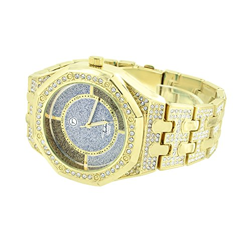 Gold Finish AP-02 Watch Simulated Diamonds Custom Iced Out Celeb Wear Jojo