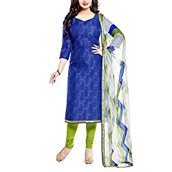 Apple Creation Blue Dress Material Suit with Matching Dupatta