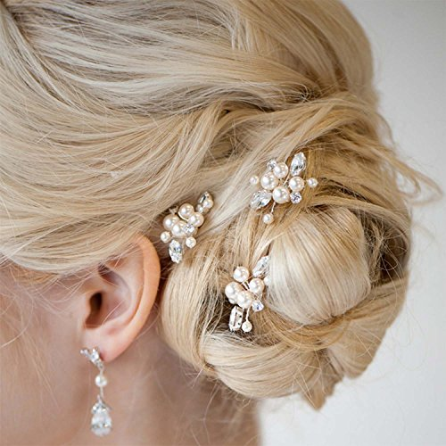 Aukmla Bridal Wedding Hair Pins for Women and Girls (Pack of 3) (Gold)