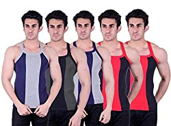 Zimfit Superb Gym Vests - Pack of 5 (BLU_GRN_GRY_BLK_BLK_85)