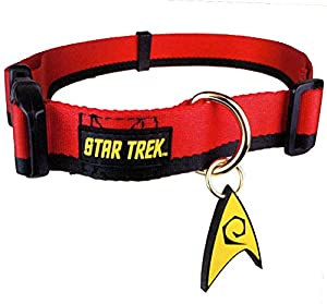 Star Trek Red Logo Dog Pet Nylon Collar W/ Engineering PVC Insignia Size Medium