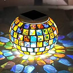 AIGUMI LED Solar Power Mosaic Glass Ball Garden Stake Colorful Changing Outdoor Waterproof Lawn Light