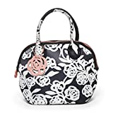 BUILT NY Downtown Lunch Tote, Garden Rose, Black and White