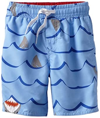 Wes and Willy Little Boys' Sharks Swim Trunk, Sky, 4T