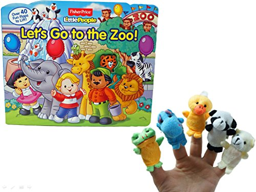 Little People Let's Go to the Zoo! Fun Flap Book With Finger Puppets Bundle
