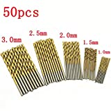 Your Supermart 50PCS 1.0/1.5/2.0/2.5/3.0mm Micro Round Shank Drill Bit Set HSS Small Precision Twist Drill