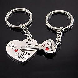 ITS-New I Love You Heart Arrow Couple' Rhodium Finish Keychain Set Unisex Key Ring Set .