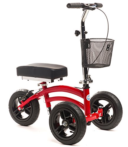 Small Adult Short All Terrain KneeRover Steerable Knee Walker Knee Scooter Red