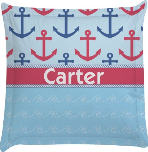 Anchors & Waves Personalized Euro Sham Pillow Case front-981578