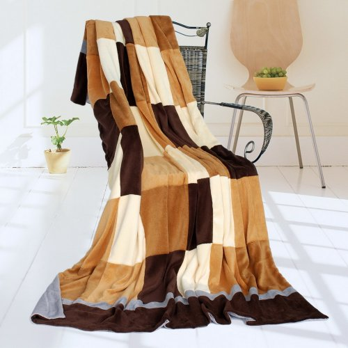 Onitiva - [Plaids - Naturally Chic] Soft Coral Fleece Patchwork Throw Blanket (59 By 78.7 Inches) front-446599